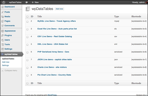 wpDataTables - Easy tables In WordPress