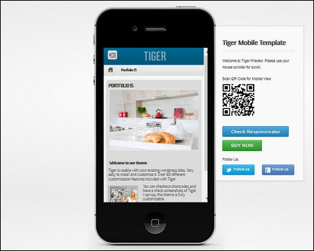 tiger wordpress mobile theme