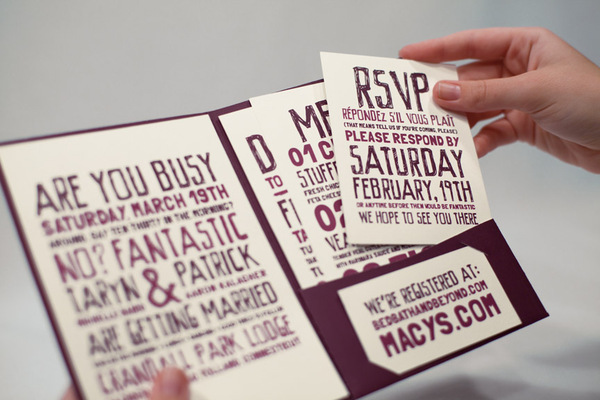 purple print work rsvp card