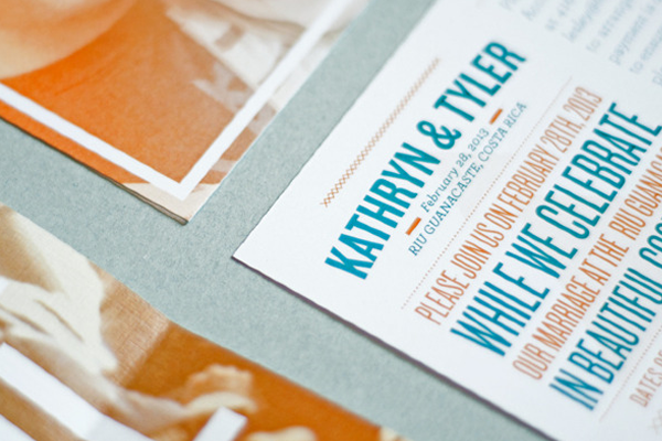 text vibrant letters paper wedding invites
