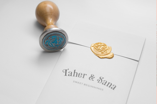 golden emblem seal invitation wedding