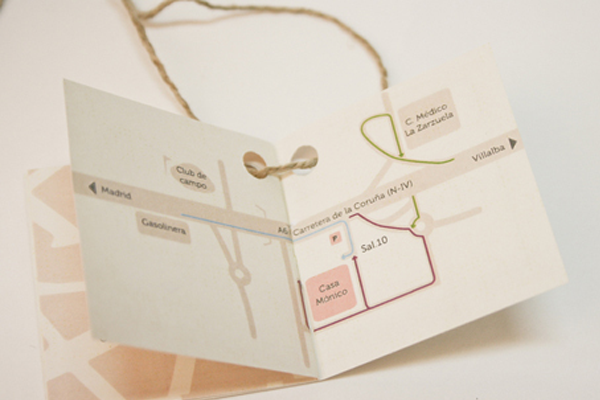paper tags wrapping wedding invite