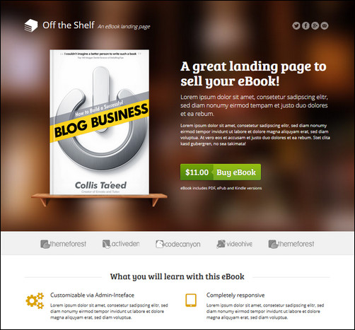 Book Landing Page Template E-book Landing Page