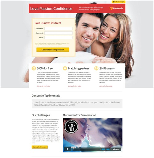 conversio landing page templates