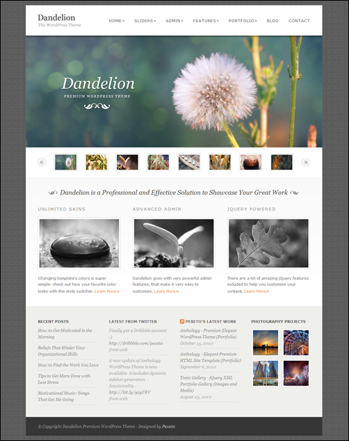 Dandelion – Powerful Elegant temi wordpress