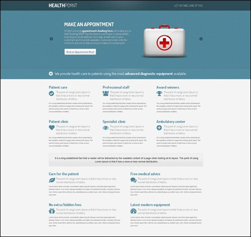 health landing page templates