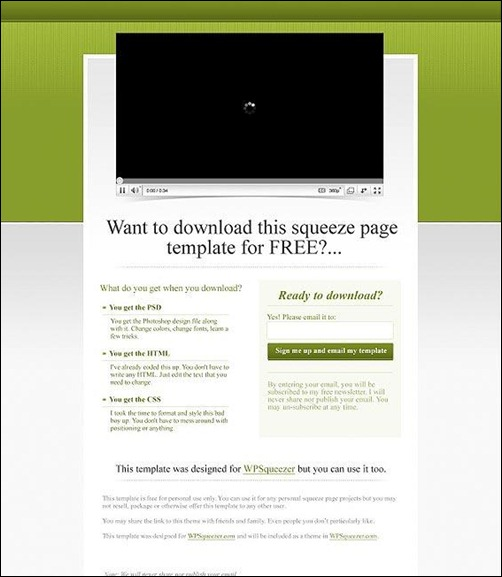 green landing page template