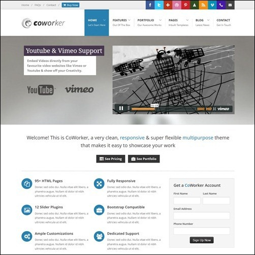 CoWorker business website template