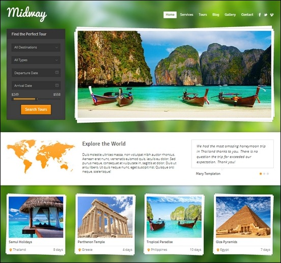 midway is a responsive wordpress theme suitable for travel business