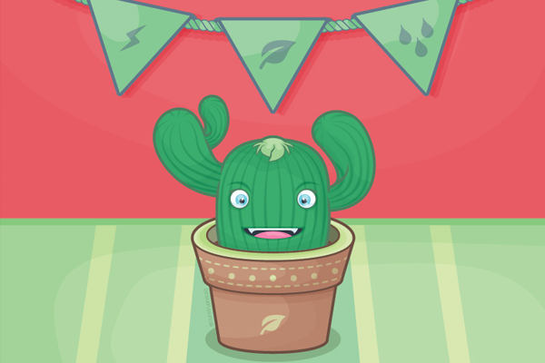 green plant the cactus friend illustration
