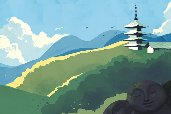 beautiful landscape illustration tower june summer