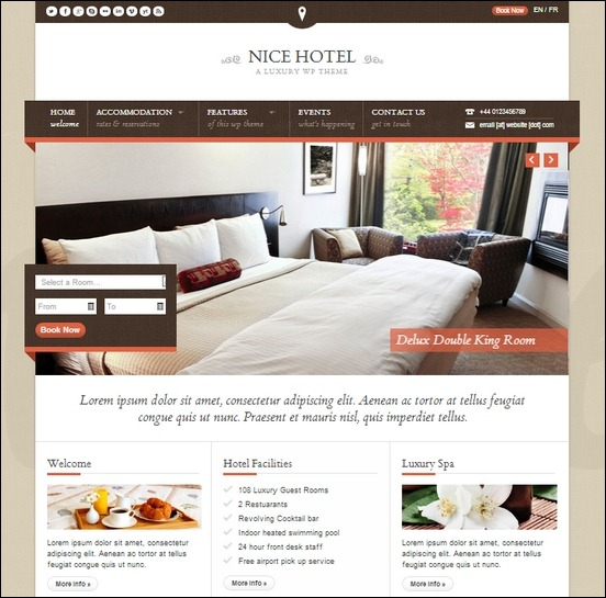 nice hotel is a clean theme designed for hotels, spas and resorts