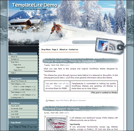 winter fun is a winter inspired theme for wordpress