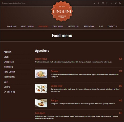 linguini theme for restaurants