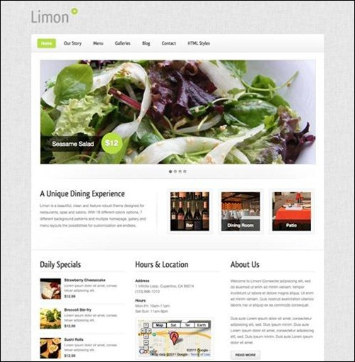 limon restaurant menu templates