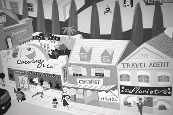 black and white 50s town illustration