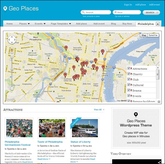 geo-places is a beautiful wordpress template that easily manages your out of ther box city directory site