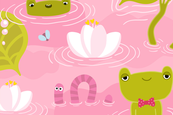 pink green frog pattern illustration