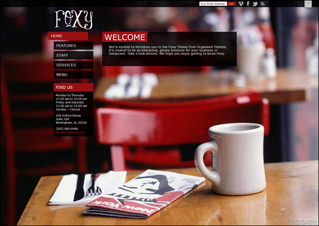 Foxy Theme restaurant menu template