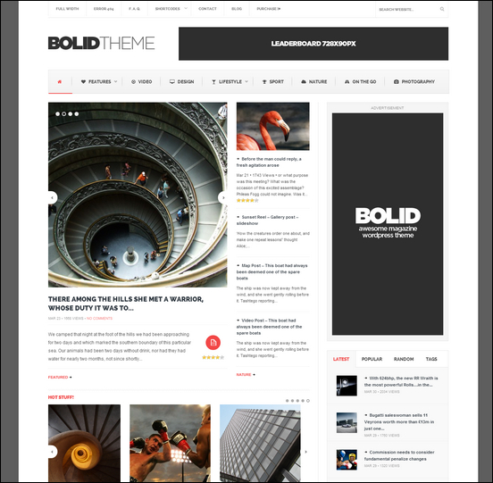 Bolid - Responsive News 3-column WordPress Theme