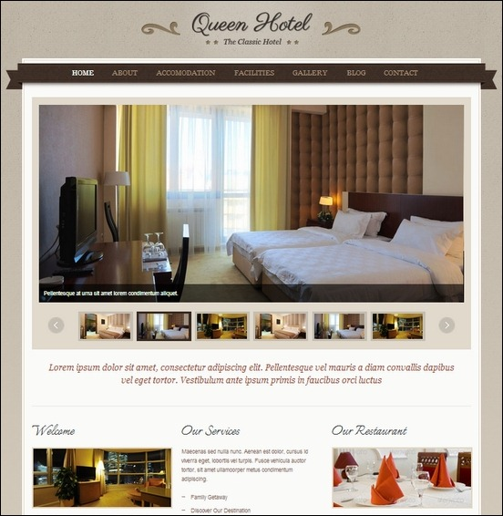 queen hotel is a clean and classic wordpress theme