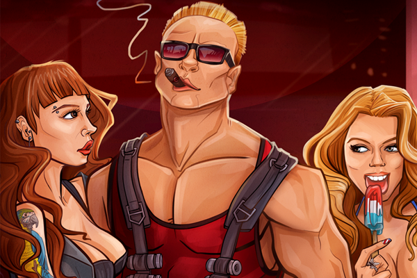 duke nukem 3d album artwork illustration