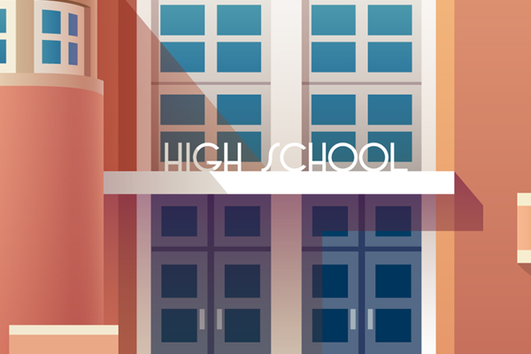 colorful high school building illustration