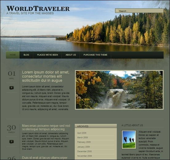 wp world traveler is a clean, fresh looked theme for wordpress