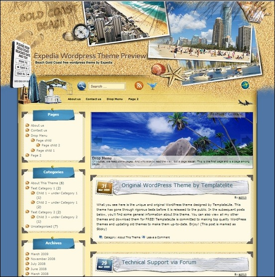 gold coast beach is a surfing inspired theme for wordpress