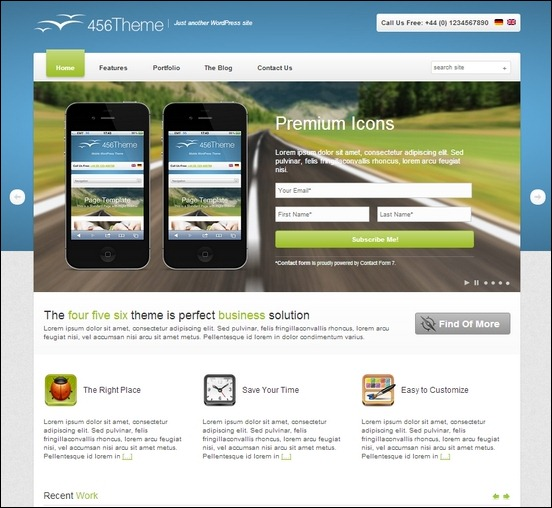 456theme is a responsive wordpress theme created from the  responsive framework called skeleton grid system
