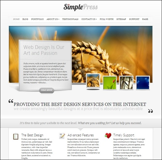 simplepress is a clean, fresh looked theme for wordpress