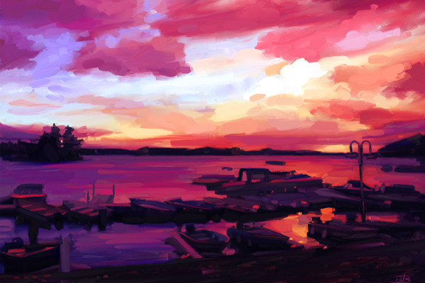 dark sunset marina illustration water boats
