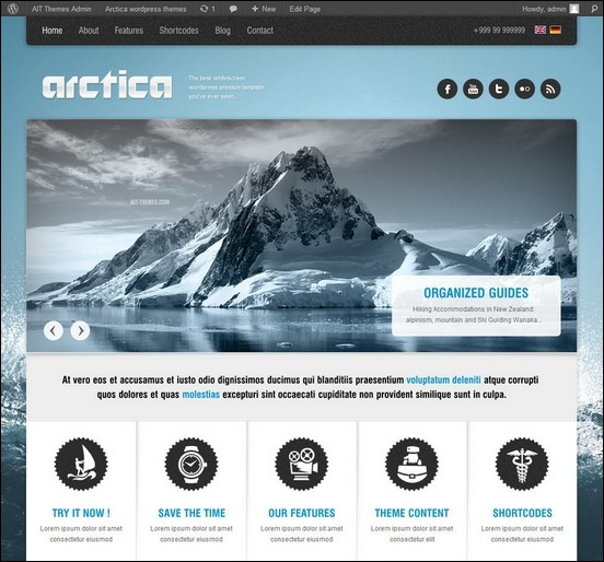 arctica is a fully featured responsive theme