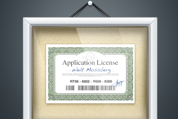 hanging license for purchased software illustration