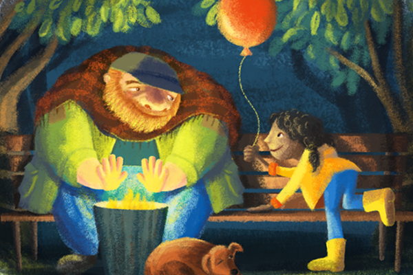 storybook character on bench illustration graphics