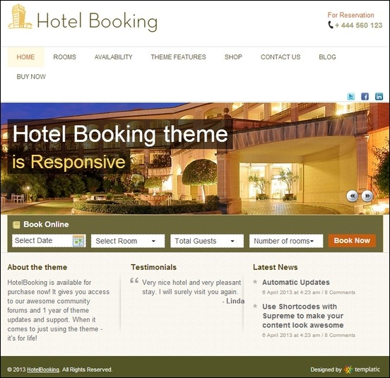 hotel booking is a clean wordpress theme used to create beautiful hotel website