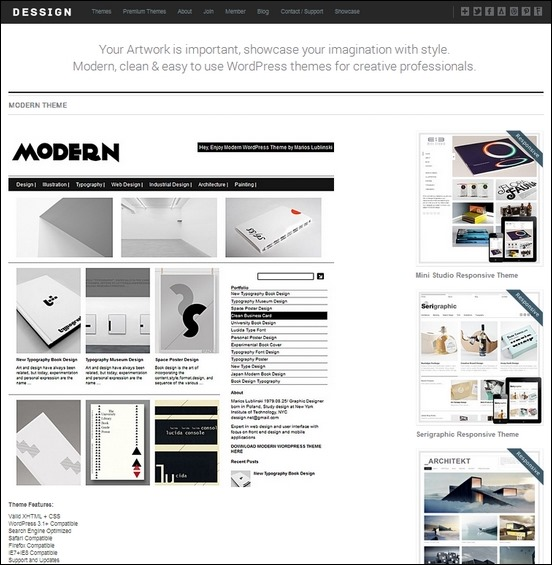 modern a cool unique theme for wordpress perfect for showcasing awesome projects and artworks
