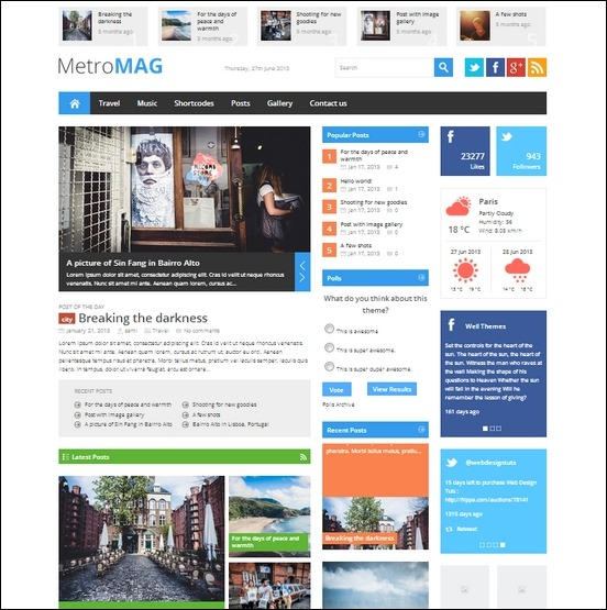 metro magazine is a metro inspired theme for wordpress
