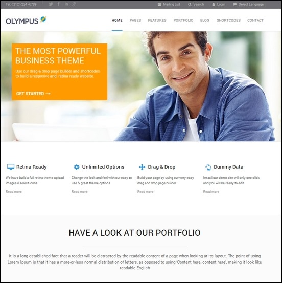 olympus is a fresh looked theme perfect for photographers who would want to showcase thier works online