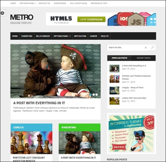 metro is a clean modern designed theme for wordpress with a touch of metro