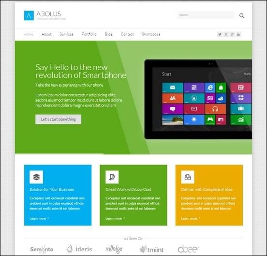 aeolus a cool minimalist  metro wordpress theme used to create portfolio, business or any website