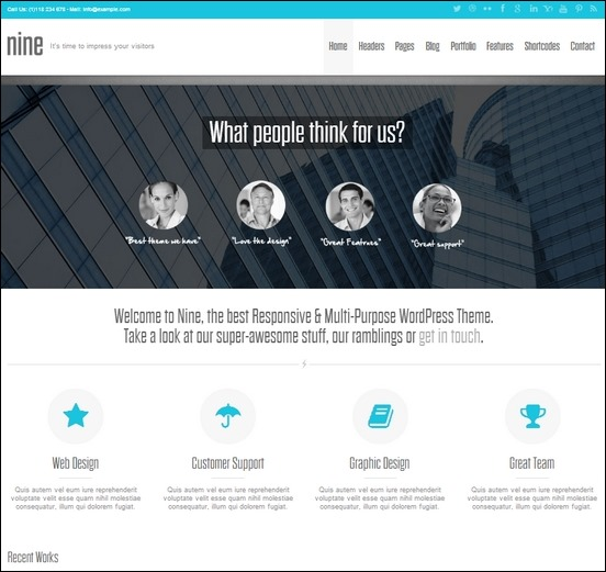 nine is a responsive multipurpose theme for wordpress used to create stunning sites like for business and more