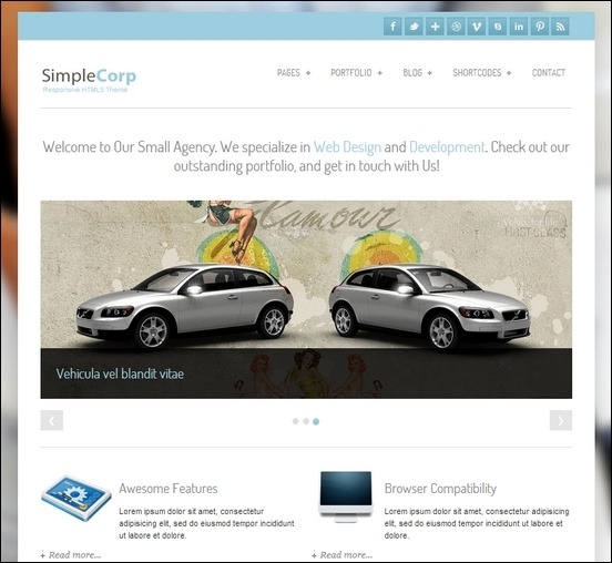 simplecorp is e responsive corporate theme that works well in mobile devices
