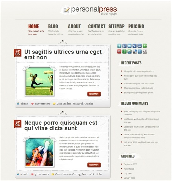 personalpress is a traditional blog style theme with a personal touch