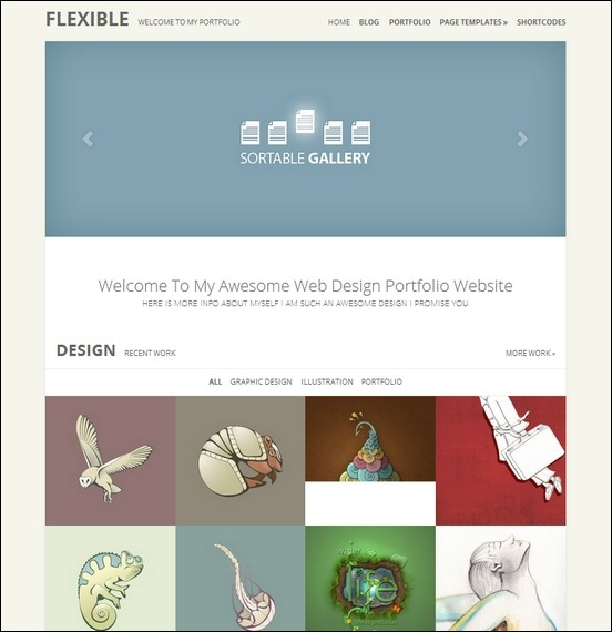 flexible is a nice and simple portfolio theme for wordpress