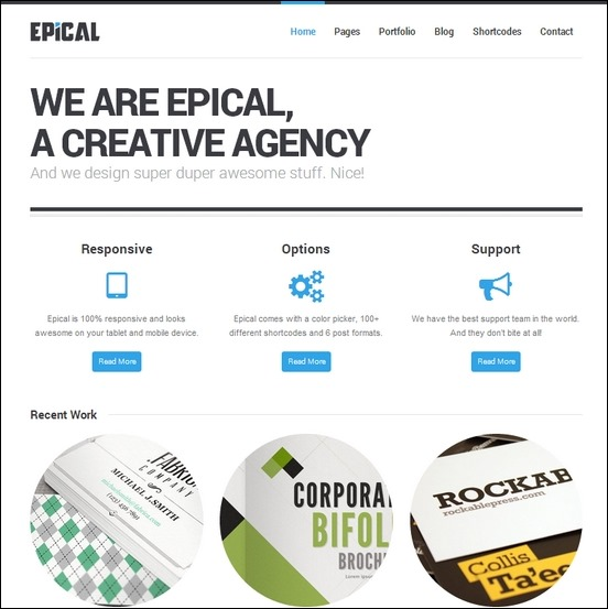 epical is a clean and simple looked business wordpress theme