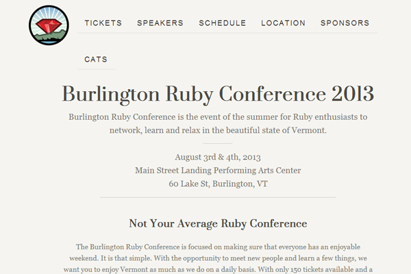 burlington ruby developers conference 2013 website