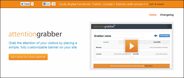 attentionGrabber: WordPress Notification Bar