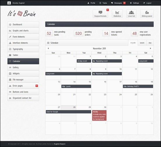 it's-brain admin panel templates