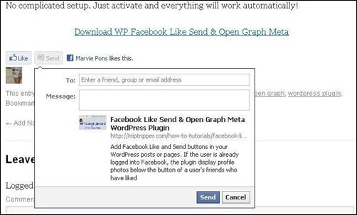 WP Facebook Like Send & Open Graph Meta